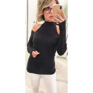 Bailey 44 Inspire Cold Shoulder Sweater in Black